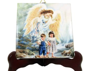 The Guardian Angel with children - catholic gift - religious plaque / ceramic tile - a perfect baptism gift - religious gifts for babies