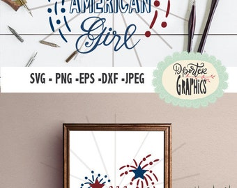 All American girl SVG PNG for silhouette cameo,, printable 4th of july, Independence day decals, red white blue svg, star firework svg