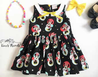 Minnie Mouse Collared Girls Dress- Disney Dress- Girls Dress- Baby Dress