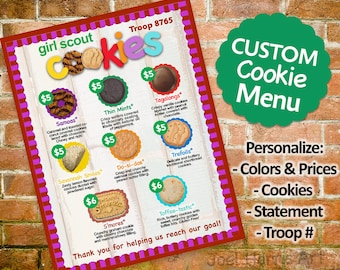 CUSTOMIZED Girl Scout Menu Custom 8.5 X 11 Cookie Page You choose Troop Number, Colors, Cookies, and Prices PERSONALIZED Printable Sign