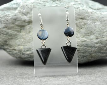 Black Obsidian and Shell Earrings