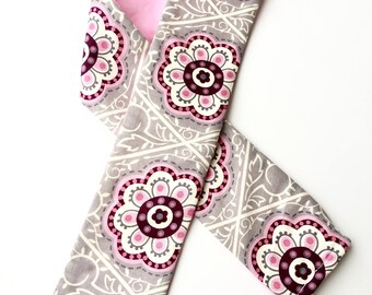 Padded Camera Strap Cover,Neck Strap- REVERSIBLE- Padded- DSLR- Gray Grey  Pink Flowers, Photographer Thank You Gift, Photography