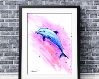 Dolphin watercolor print, colorful dolphin wall art, dolphin painting, dolphin poster, dolphin nursery decor, dolphin illustration