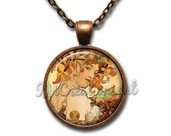 Mucha's Painting Fruit Glass Dome Pendant or with Necklace