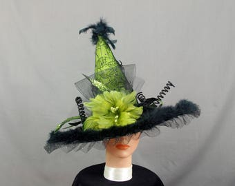 Olive Green Witch Hat, Halloween Witch Hat, Elegant Witch Hat, Decorated Witch Hat, Pagan Hat, Halloween Hat, Green Witch Hat