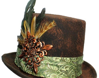 Brown Wool Top Hat Copper Mint Steampunk Topper Womens Mens Cosplay