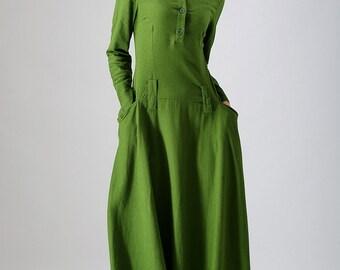 Linen dress, green dress, maxi dress, womens dresses, spring dress, long sleeves dress, casual dress, long dress for women, plus size  784