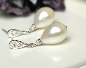 Teardrop Pearl Earrings   Ivory White Freshwater Drop Pearl   Seed Pearl   Sterling Silver CZ Studs   Vintage Style   Bridal   Ready to Ship