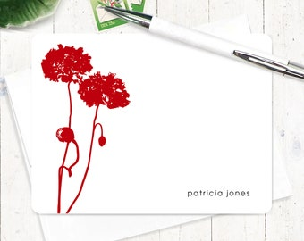 Personalized Note Card Set - personalized stationary - poppy stationery - poppies card - floral flower - set of 12 flat note cards - POPPIES
