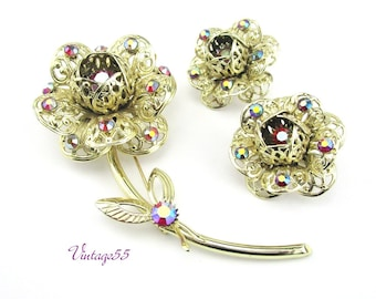 Brooch Set Earrings Rhinestone Fashion Flower by Sarah Coventry