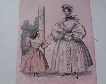 """Antique fashion drawing  """"toilette d'intérieur""""  1880-1890."""