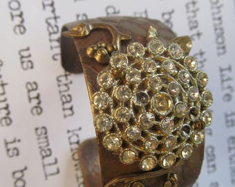 Shabby Grapes Etched Brass Cuff Vintage Rhinestone Button Altered Art Bracelet
