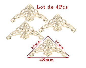 Golden corners model: Art deco design. Size approximately 35x35mm and 48mm long set of 4Pcs
