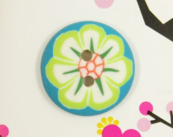 Cyan Plastic Buttons with Big Flower Pattern, 0.87 inch (10 in a set)