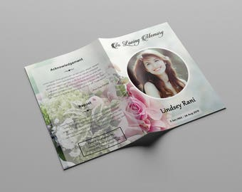 Funeral Program Template | Memorial Program Template | MS Word & Photoshop Template | Instant Download