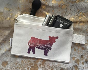 Show Cattle Canvas Make Up Bag