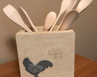 Rustic country whitewashed wood utensil holder with gray rooster accent