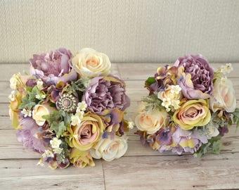 Wedding Bridal,Bridesmaid Bouquet set. amethyst,lilac,peonies,vintage pink roses.ivory Roses,lilac hydrangea.ivory daisy,brooch foliage