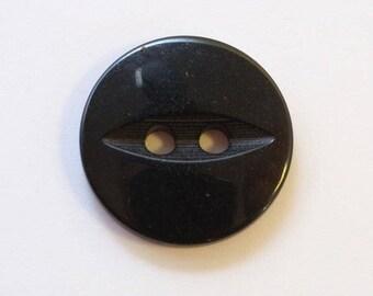 Button 16mm x 10 black 2 holes - 001579 fish eye