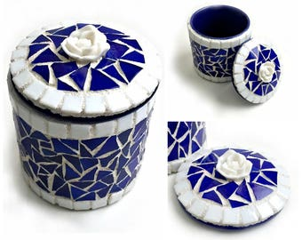Blue Ceramic Mosaic Box, Cobalt Blue Mosaic Trinket Box, Ceramic and Mosaic Royal Blue Box, White Rose Blue Mosaic Box, Blue and White Box