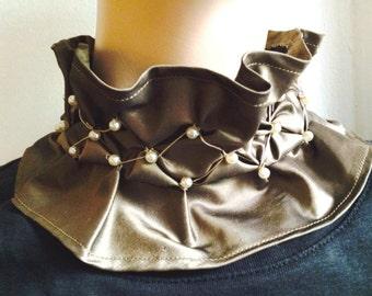 Silk Taffeta Neck Accessory in Bronze with Smocking and  Pearl Trim