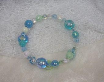 Plastic Ball Wire Bracelet - Blue