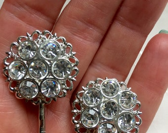 Vintage Rhinestone Hair Bobby Pins Bridesmaid Wedding Prom Art Deco Silver Doodaba