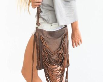 Leather Fringe Bag, Fringe Crossbody Bag, Leather Fringe Purse, Fringe Handbags, Brown Fringe Bag, FREE SHIPPING WORLDWIDE