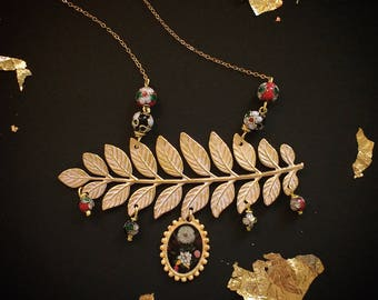 """Necklace - illustrated necklace - gold filled - Branch- Stay Gold - """"Flora Black"""""""