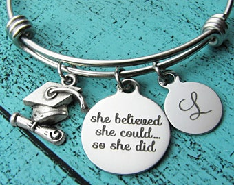 college graduation gift, for graduate, high school graduation gift for her, senior student gift, congrats, she believed she could so she did