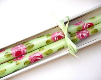 Green Taper Candles Hand Painted Pink Roses Victorian Romantic Decor FREE SHIPPING