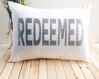 Christian Pillow Cover,  Word Pillow, Gift, Pillow Cover With Sayings, Redeemed Pillow