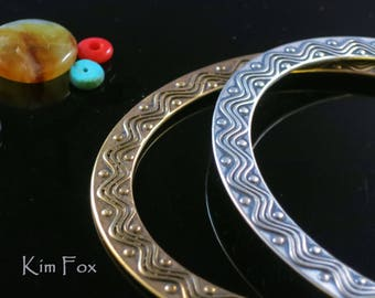 7 inch Oval Two Sided Wave and Dot Bangle in Golden Bronze by Kim Fox made for the petite hand