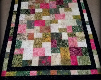 Lap quilt, throw quilt, gift for her, gift for him, patchwork quilt, batik quilt,wedding shower