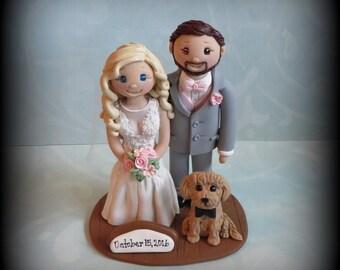 Wedding Cake Topper, Custom Bride and Groom, Dog, Log, Polymer Clay, Wedding/Anniversary Keepsake