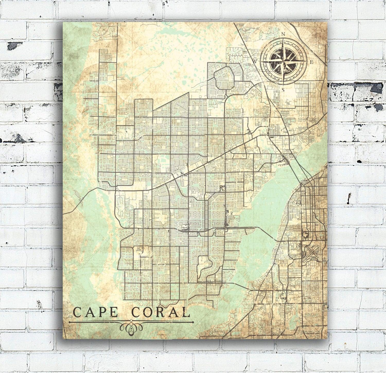 CAPE CORAL FL Canvas Print Florida Fl Vintage Map Cape Coral Fl City - Oversized vintage maps