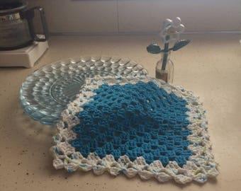 handmade crocheted turquoise dishcloth