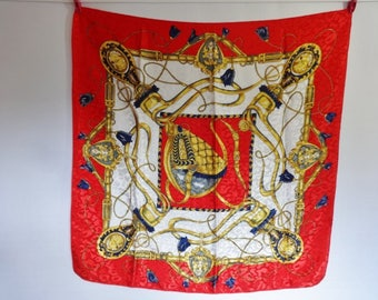 Vintage Red Scarf Baroque Versailles Style 76cm x 78cm