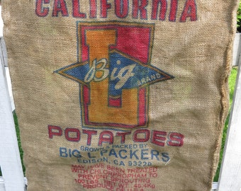 Burlap feed sacks, California potatoes
