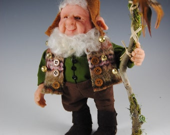 """Elf Doll/Handmade Art Doll/OOAK Elf/Collectible Doll/""""Willow on His Walkabout"""""""