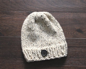 Chunky Knit Hat, Adult Chunky Hat, THE HAWTHORNE, Ski Hat, Button Hat, Cozy Hat, Adult Beanie, Adult Hat, Chunky Knits, Chunky Knit Hat
