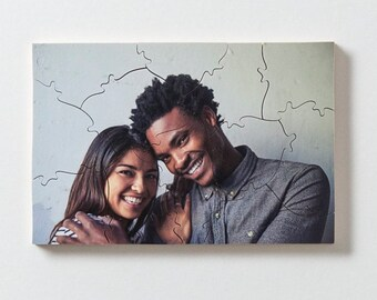 Handmade custom wooden photo jigsaw puzzle. 12 pieces. 5 x 7 inches. Personalized gift.