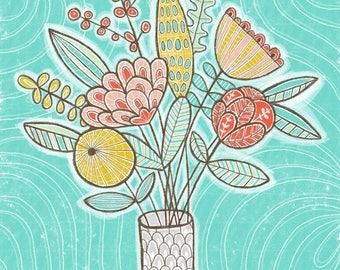 Aqua Floral Bouquet - wall art - print