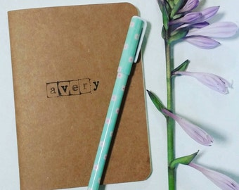 The Blank Slated | Perfect Personalized Notebook mini journal | handmade personalisable blank book | handstamped or handlettered for you