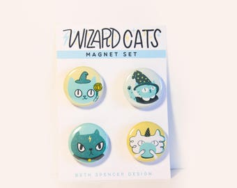 Wizard Cat Magnets / Cat Magnet / Quirky Magnets / Funny Magnets / Cat Gifts / Wizards / Gift for Cat Lady / Cats / Funny Cat Magnets