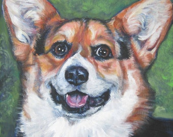 dog art Pembroke Welsh Corgi CANVAS print of LA Shepard painting 8x8 dog portrait
