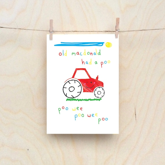 Old McDonald card, Rude kids cards, Silly Children's cards, Toddler rude words card, funny kids card. funny birthday card.