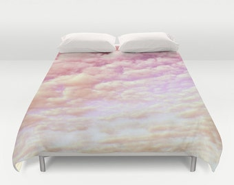 "Duvet Cover Made to Order ""Cotton Candy Sky"" Decorative bedding, design pink light happy, Dorm, bedroom blanket wedding dreamy cloud soft"
