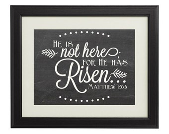 "Matthew 28:6 ""He is not here; for He has Risen..."" Chalkboard Vintage Art 10x8 Religious Print  INSTANT DOWNLOAD"