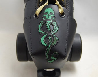 Leather Skate Toe Guards with Green Death Eater Symbol (OR Choose Your Own Color)